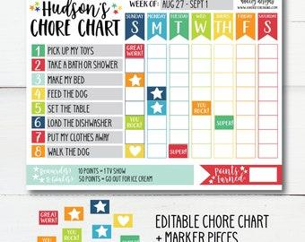 Behavior Chart Chore Board Routine Toddler Boys Girls Household Chores Weekly Task