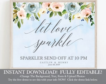 Dusty Blue and Pink Hexagon Floral Wedding Sign Sparkler, Hadley Designs, Editable Sparkler Sign, Wedding Send Off Ideas, Let Love Sparkle