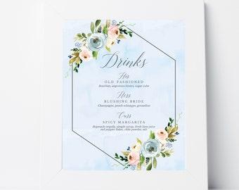 Dusty Blue and Pink Hexagon Floral Wedding Drinks Sign, Bar Menu Wedding Template, Bar Menu Sign Printable, Wedding Bar Menu, Hadley Designs