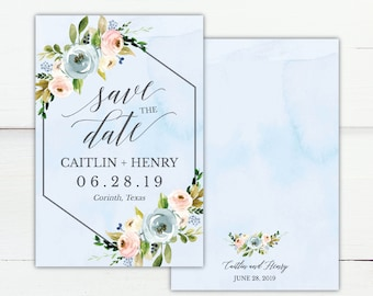 Dusty Blue and Pink Hexagon Floral Save The Date Card Template, Save The Date Template with Photo, Cheap Online Save The Date, Hadley Design