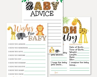 Advice Card Jungle Animal Black Green Baby Shower Package Keepsake Bundle Oh Baby Well Wishes for Baby Baby Keepsake Cards