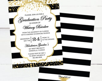 black and white with gold dots graduation announcement graduation invitation 2018 gradation invites printable graduation invite template