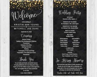 printable wedding programs etsy