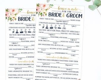 Funny Advice For The Newlyweds Mad Libs Bridal Shower Advice Etsy
