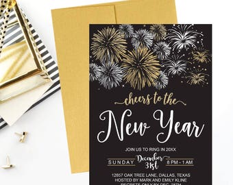 New Years Eve Party Invitation Template Elegant Black