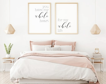 Bedroom Wall Decor Ideas, Home Decor Wall Art, Master Bedroom Art,  Minimalist Poster, Digital Print Set, Modern Wall Art For Bedroom