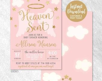 Printable baby shower invitation etsy angel girl pink gold printable baby shower invitation baby shower invitation instant download editable baby shower invitation diy pdf filmwisefo
