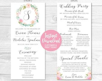 wedding program thank you etsy