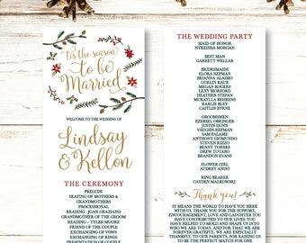 Christmas Wedding Programs Etsy