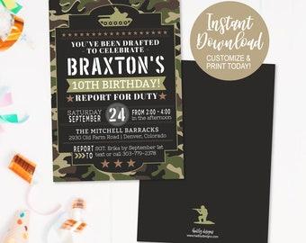 DIY Birthday Party Theme Invites Fun Invite Custom Kids Downloadable Editable Invitations Personalized