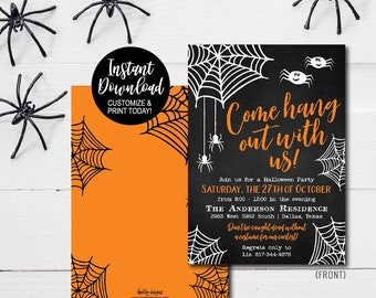 Halloween Editable Invitation Girls Party Adult Birthday Kids Printable