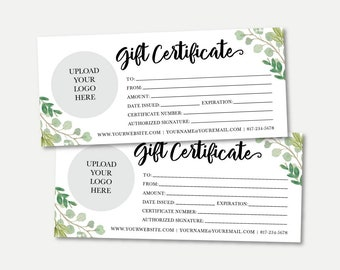 kraft and blush gift certificate template printable gift etsy