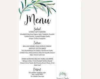 greenery menu design etsy