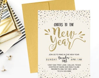 new years eve party invitation template gold cheers to the new year holiday printable invite editable text instant download invite pdf