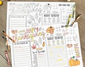 Thanksgiving Kids Coloring Placemats, Activity Placements, Editable Placemats, Thanksgiving Favors, Turkey Printable, Thanksgiving Table,