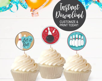 Birthday Bowling Cupcake toppers INSTANT DOWNLOAD Edit Yourself Neon bowling Cupcake Toppers Purple bowling cupcake toppers Glow