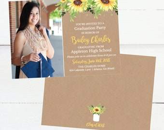 Graduation announcement postcard etsy kraft sunflower announcements template senior card class of 2018 invites graduation invitation card graduation announcement postcard filmwisefo