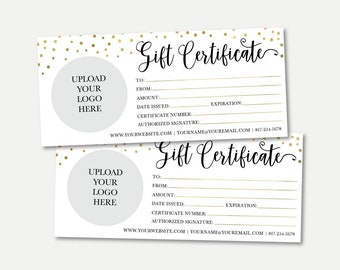 gold dots gift certificate template printable gift certificate pdf printable gift card gift certificate template gift card template diy