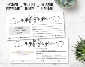 Editable Custom Gift Certificate, A Gift For You Template, Editable Gift Certificate, Instant Download, Shop Voucher, Add Your Logo, Simple