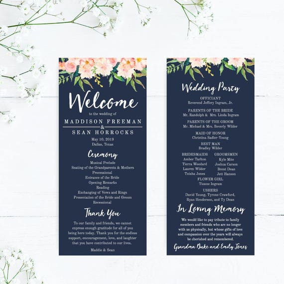 Digital File You Print Printable Wedding Program ALL COLORS Available