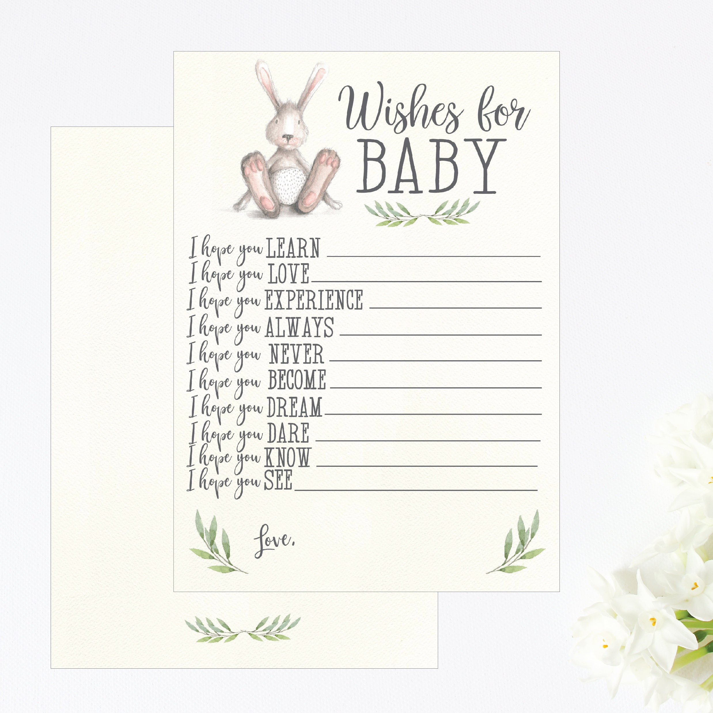Greenery and Bunny Well Wish for Baby Boy, Well Wishes for Baby Girl, Well  Wishes for Baby Book, Baby Shower Well Wishes To Mom Of Template