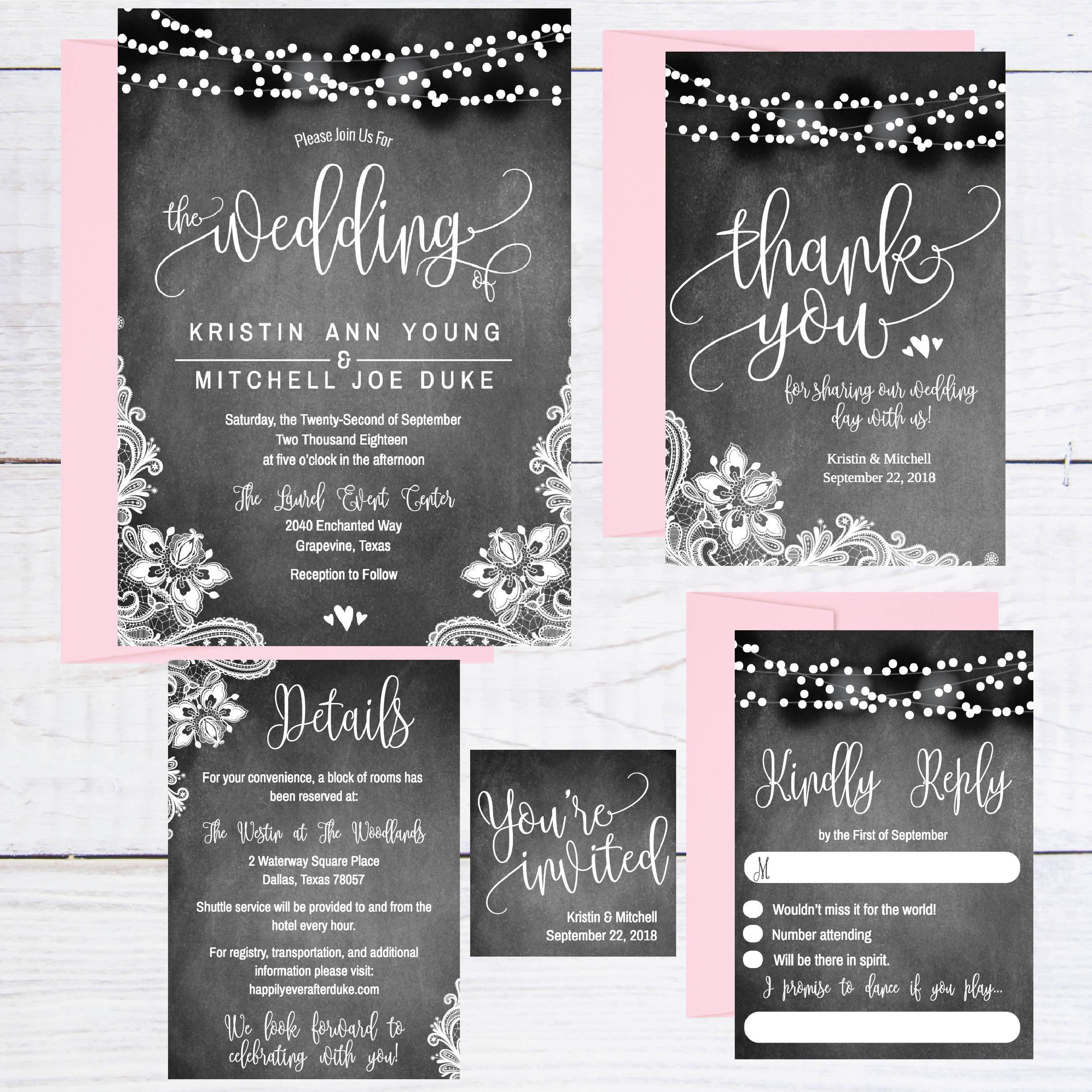 Chalkboard Wedding Invitation Template: Chalkboard Lace & Lights Wedding Invitation Template