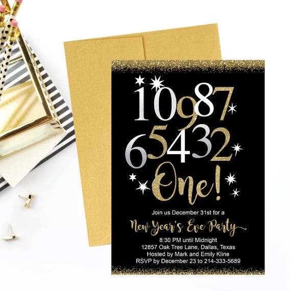 New Year S Eve Party Invitation Template Elegant Black Etsy
