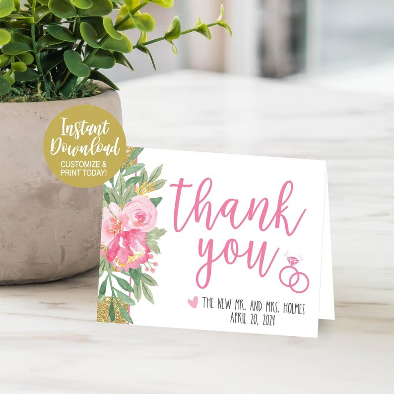Wedding Thank You Cards Online Thank You Cards for Bridal Shower or Baby Thank You Cards Wedding Online DIY Thank You Card Template
