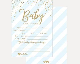 Blue Vertical Strips Oh Baby Shower Prediction Card, Keepsake Baby Shower Printable, Instant Download Prediction Card, Hadley Designs