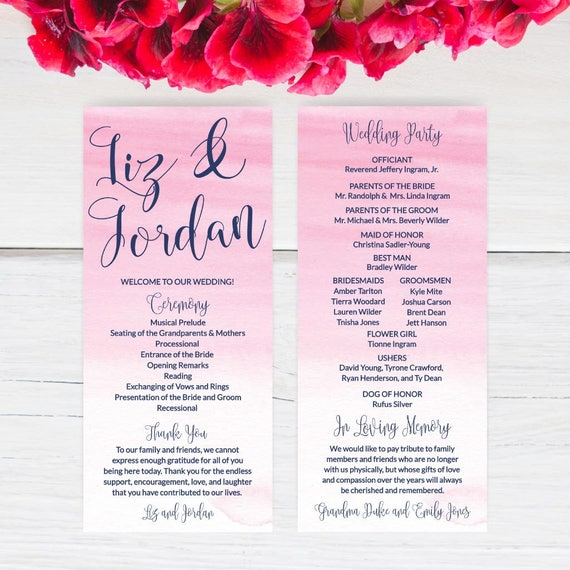 Wedding Program Template Download Thank You