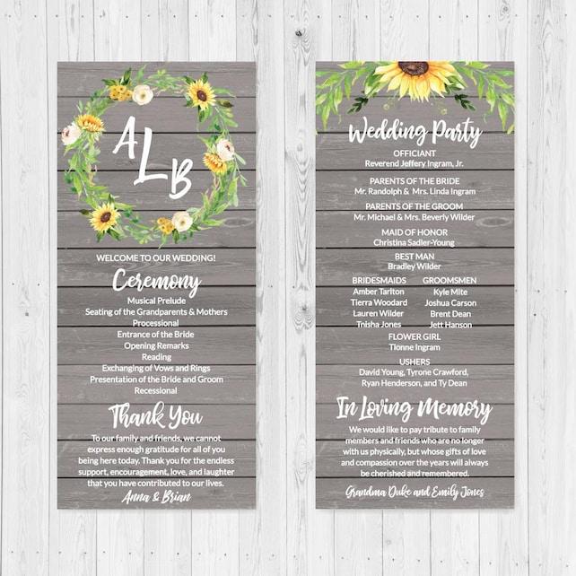 Diy Printable Wedding Programs Templates Wedding Program Ideas