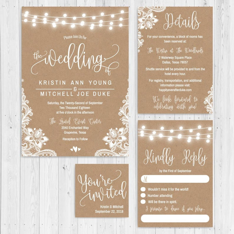 Kraft Lace Lights And Hearts Wedding Invite Suite Online Etsy