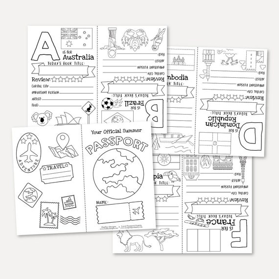 Alphabet Passport Printable Learning Letters Coloring Pages Etsy
