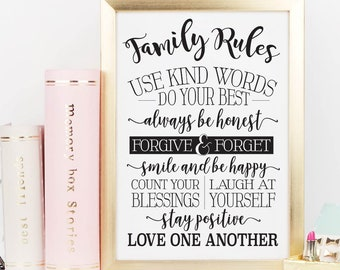 Family Rules Use Kind Words Do Your Printable Sign Set, Minimalist Rustic Wall Art, Love Couple Bedroom Decor, Digital Prints Wall Poster