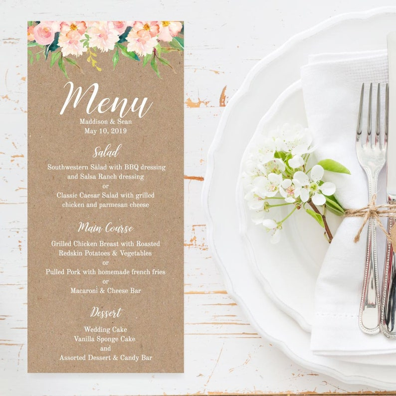 Wedding Dinner Menu Template DIY Wedding Menu Ideas Menu Template Download Menu For Wedding Wedding Menu Sign Wedding Menu Printable