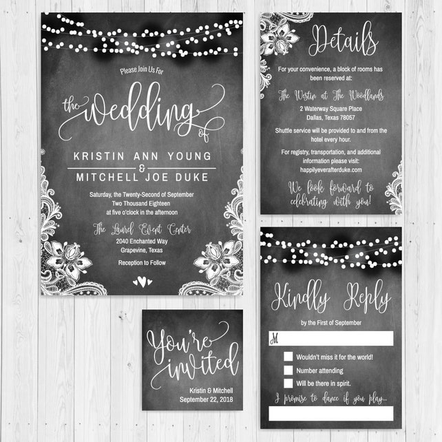 Chalk Lights Lace And Hearts Wedding Invite Suite Online Wedding