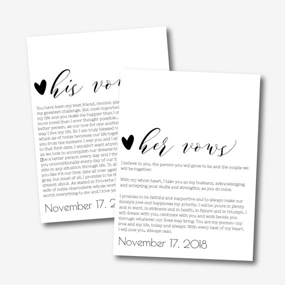 His And Her Vows Template Editable Wedding Printable