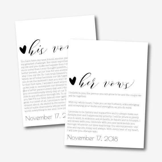 His And Her Vows Template Editable Wedding Vows Printable Etsy