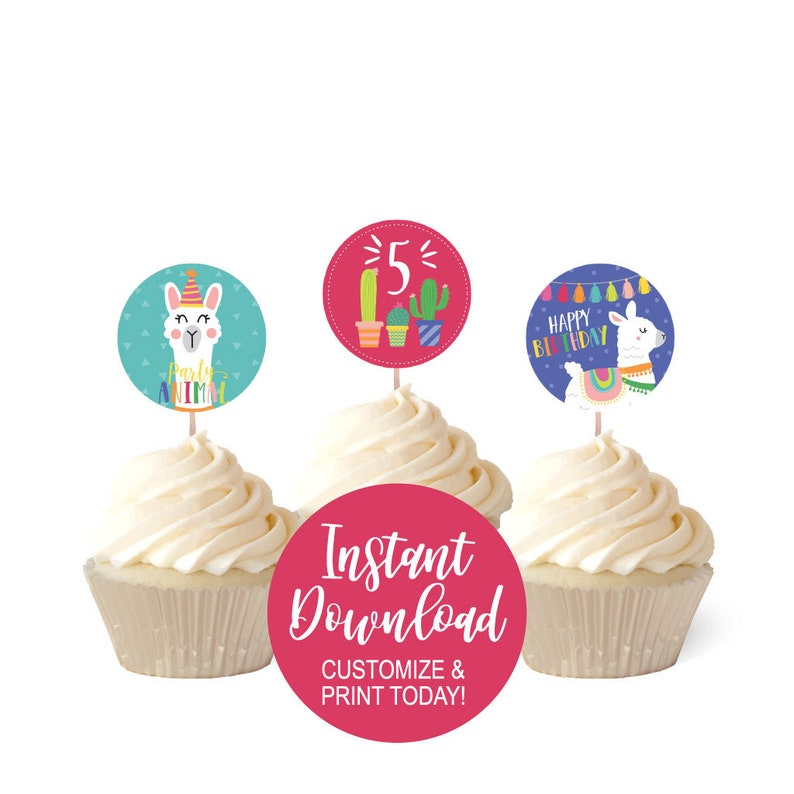 photograph relating to Cupcake Printable known as Bday Cupcake Topper, Cupcake Printable, Personalized Cupcake Topper, Childrens Birthday Topper, Hadley Patterns, Editable PDF, Personalized Electronic PDF