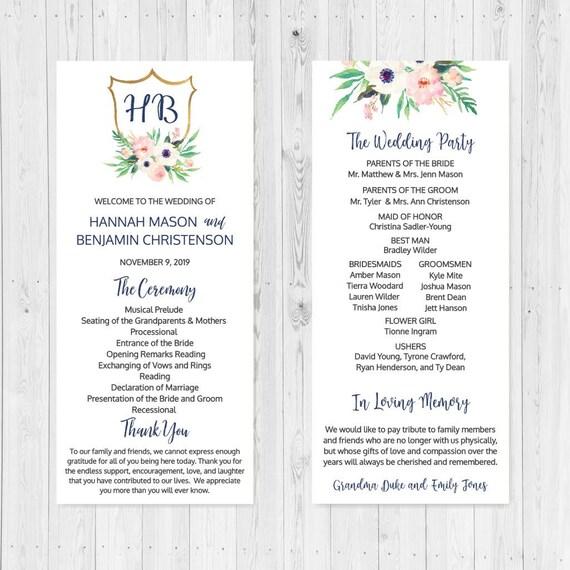 diy printable wedding programs templates wedding program etsy