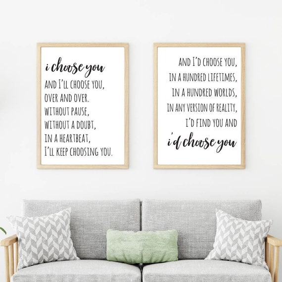 I\'ll Choose You And I\'ll Home Decor Wall Art Bedroom | Etsy