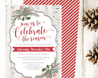 Christmas Party Invitation Template, Rustic Winter Woodland & Holly Printable Invite, Editable Text Instant Download DIY Holiday Invite PDF