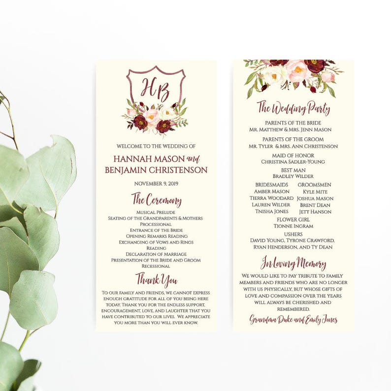 Wedding Program Thank You Sayings Wedding Programs Cheap Wedding Program Templates Instant Download Wedding Programs Catholic DIY Ideas