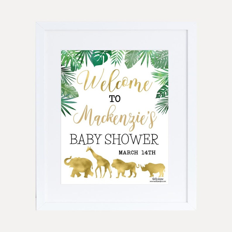 Gold Safari Baby Shower Welcome Sign Template Welcome Sign Etsy