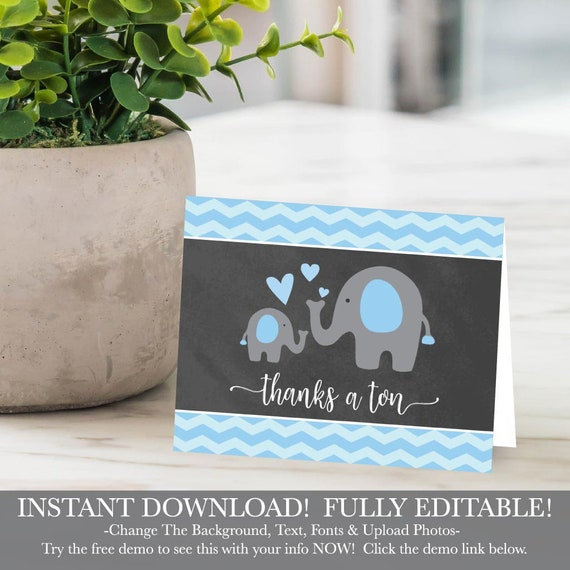 Hadley Designs Baby Shower Thank You Cards Boy Printable Etsy