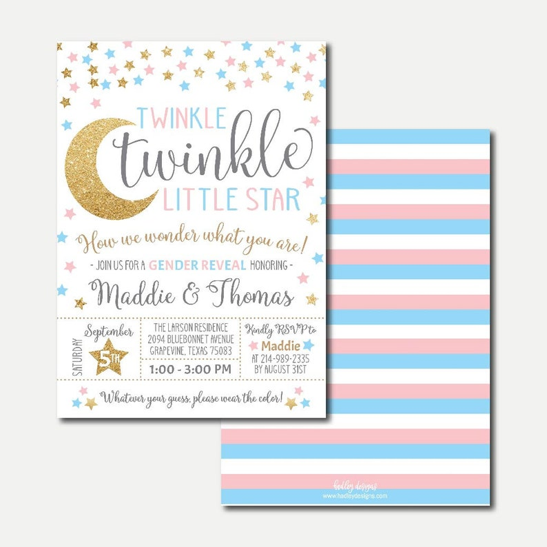 White Twinkle Little Star Invitation Template