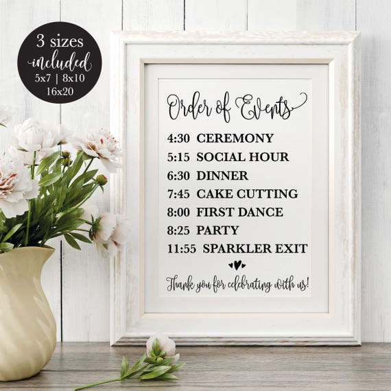 Order Of Events Editable Wedding Sign Rustic Printable Wedding Reception Schedule Calligraphy Timeline Sign Diy Instant Download Template