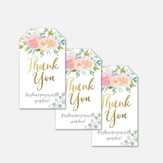 Pink and Grey Floral Baby Shower Thank you tag Printable Baby Shower Favor Tag