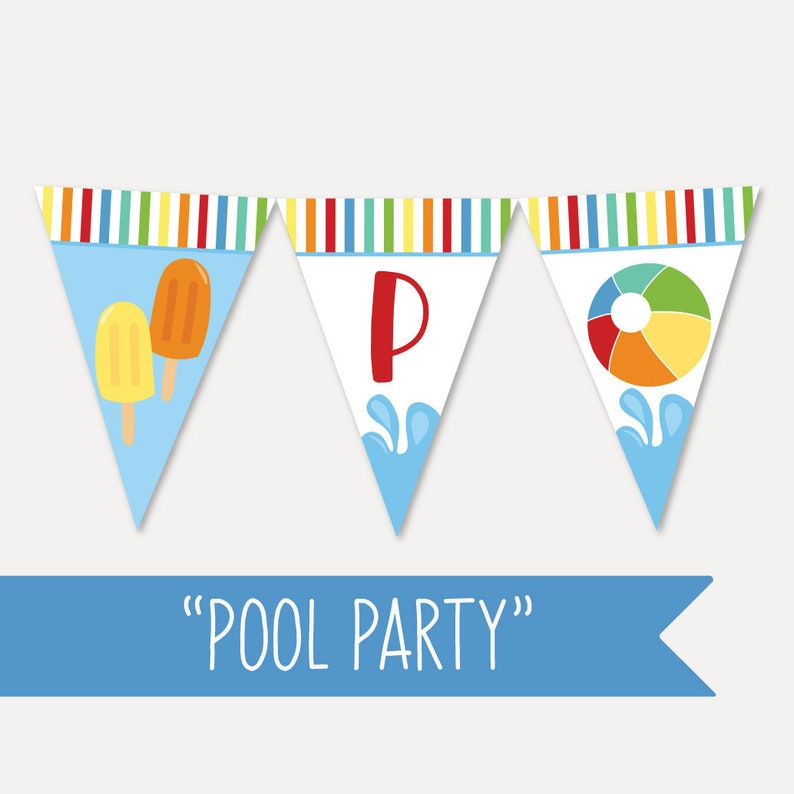 graphic about Printable Banner Template referred to as Waves Pool Young children Bash Banner Template - Printable Banner Template, Printable Banner Customizable, Editable PDF Prompt Down load
