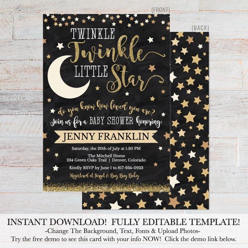 Twinkle Twinkle Little Star Shower Invite Printable, Editable Baby Shower  Invitation, Editable Baby Shower Invite, Invite Instant Download
